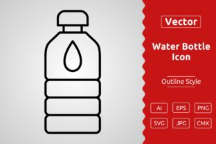 Print on Demand: Vector Water Bottle Outline Icon Design Graphic Icons By Muhammad Atiq