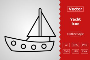Print on Demand: Vector Yacht Outline Icon Design Graphic Icons By Muhammad Atiq