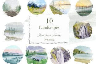 Print on Demand: Watercolor Digital Landscape Graphic Illustrations By Natalia Arkusha