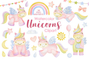 Print on Demand: Watercolor Unicorns Clipart. Graphic Illustrations By Kira Art Story