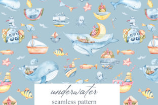 Print on Demand: Watercolor Whales Seamless Patterns Graphic Patterns By Tiana Geo