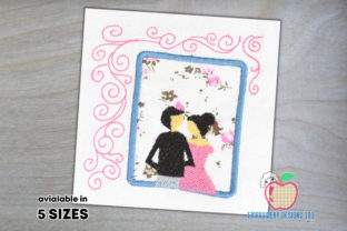 Wedding Couple in Window Applique Wedding Designs Embroidery Design By embroiderydesigns101