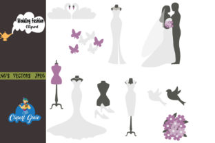 Print on Demand: Wedding Fashion Clipart Bundle Graphic Illustrations By clipartgenie