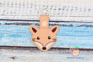 Wild Fox Face ITH Snaptab Keyfob Wild Animals Embroidery Design By embroiderydesigns101