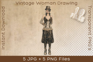 Print on Demand: Woman in Vintage Steampunk Art Drawing Graphic Illustrations By Vintage 12by12