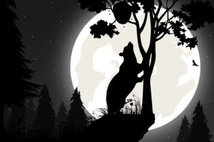 Print on Demand: Cute Bear with Moon Silhouette Graphic Illustrations By curutdesign