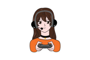 Anime-style Gamer Girl Video Games Craft Cut File By Creative Fabrica Crafts