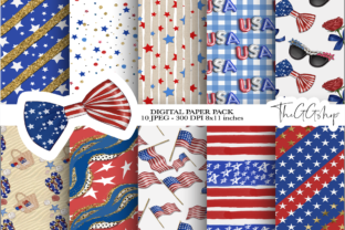 Print on Demand: 4th of July Scrapbook Printable  Paper Graphic Print Templates By TheGGShop