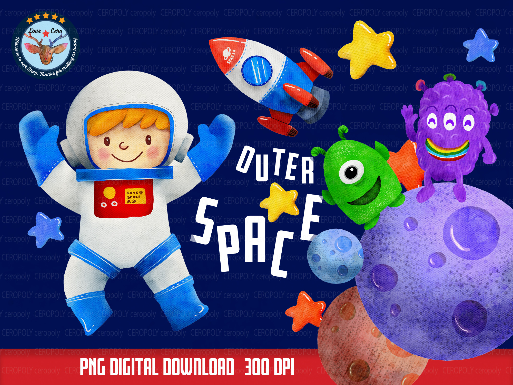 Astronaut Outer Space for Kids Clipart, SVG File
