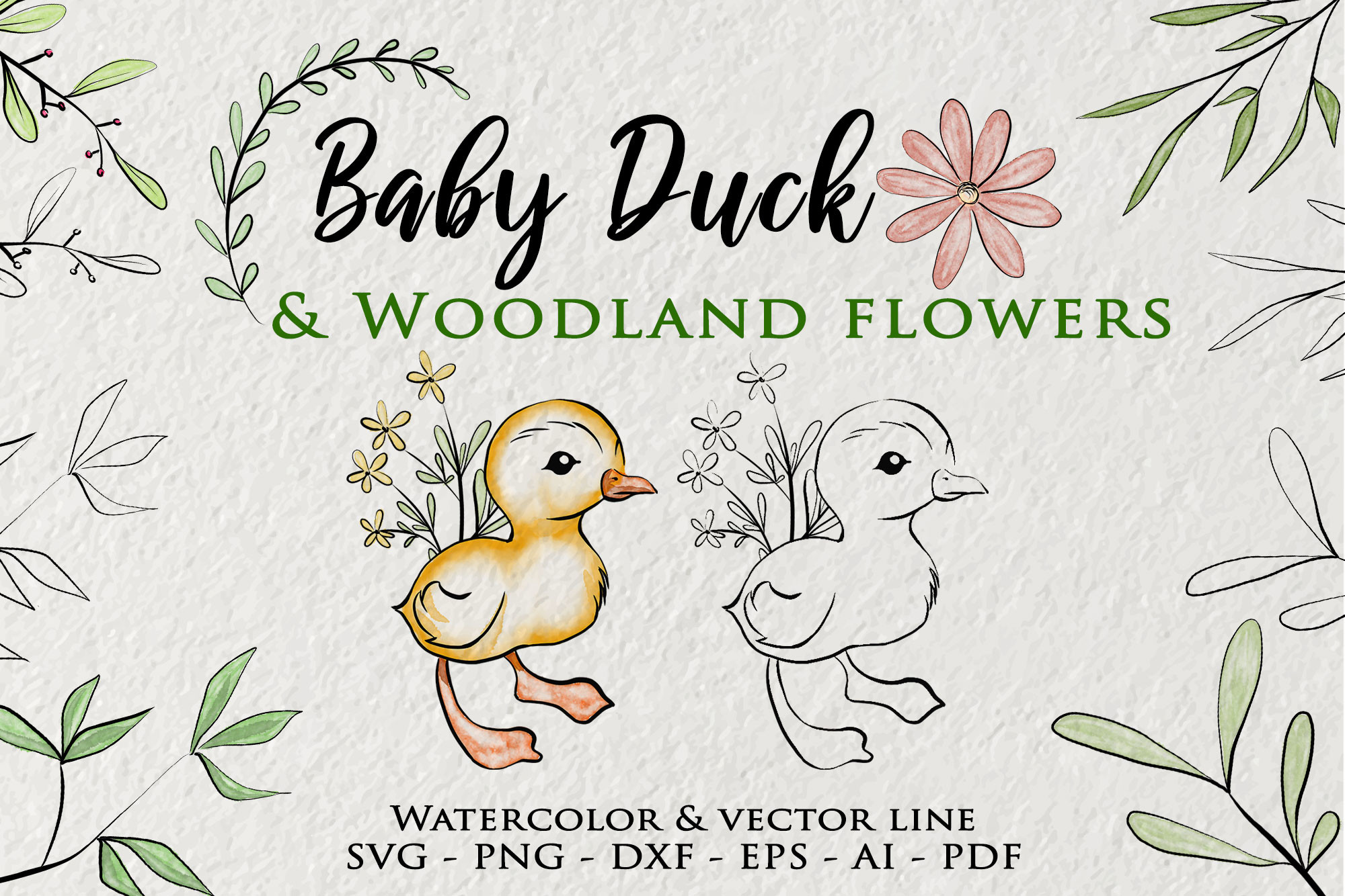 Baby Duck SVG Watercolor Woodland Flower SVG File