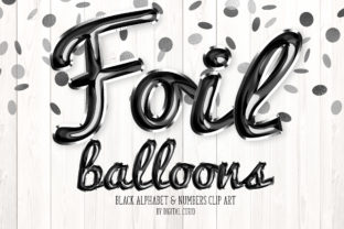 Print on Demand: Black Foil Balloon Script Alphabet Graphic Illustrations By Digital Curio