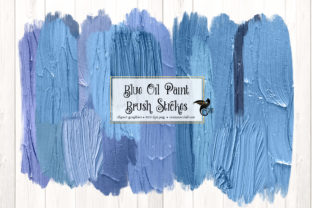 Print on Demand: Blue Oil Paint Brush Strokes Graphic Illustrations By Digital Curio