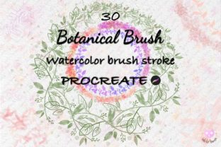 Print on Demand: Brush Procreate Watercolor Spring Plant Graphic Brushes By idelotama