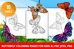 Butterflies Coloring Pages for Kids Graphic Coloring Pages & Books Kids By GRAPHICSMINE
