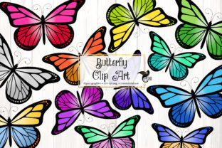 Print on Demand: Butterfly Clip Art Grafik Illustrationen von Digital Curio