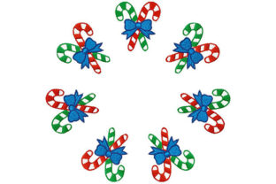 Print on Demand: Candy Sticks in Circle Christmas Embroidery Design By Dizzy Embroidery Designs