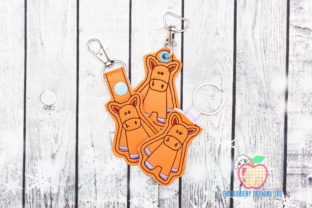 Cartoon Horse ITH Key Fob Pattern Horses Embroidery Design By embroiderydesigns101