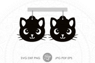 Print on Demand: Cat Earrings SVG, Cute Cat Earrings Graphic 3D SVG By Artisan Craft SVG