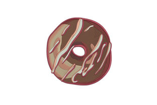 Chocolate Donut Dessert & Sweets Embroidery Design By DigitEMB