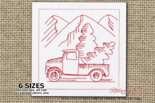Christmas Tree Carrying Truck Redwork Transportation Embroidery Design By Redwork101