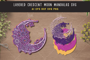 Crescent Moon and Mandala SVG 3d Layered Graphic Crafts By AllmoStudio