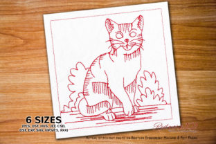 Cute Happy Kitten Redwork Cats Embroidery Design By Redwork101