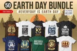 Print on Demand: Earth Day Slogan T-shirt Designs Bundle Graphic Print Templates By Universtock
