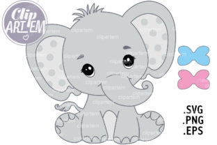 Print on Demand: Elephant Boy Girl SVG PNG EPS Vector Bab Graphic Illustrations By clipArtem