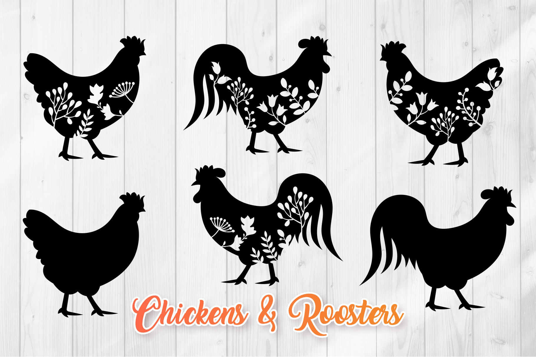 Floral Chicken SVG - Rooster Silhouettes SVG File