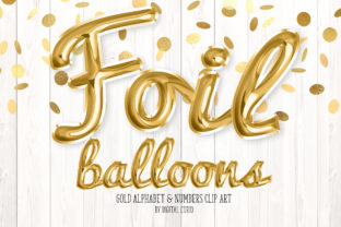 Print on Demand: Gold Foil Balloon Script Alphabet Graphic Illustrations By Digital Curio