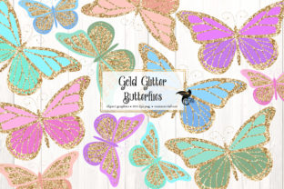 Print on Demand: Gold Glitter Butterflies Clipart Graphic Illustrations By Digital Curio