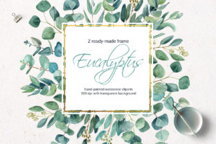 Print on Demand: Gold Frame with Watercolor Eucalyptus Graphic Illustrations By Elena Dorosh Art