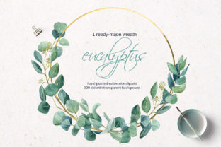 Gold Wreath with Watercolor Eucalyptus Graphic Illustrations By lena-dorosh