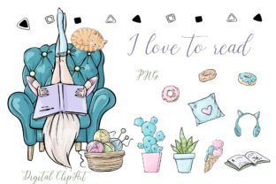 I Love to Read Clipart Graphic Illustrations By Afrin_Art