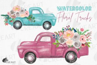 Print on Demand: Pickup Trucks and Flowers Wedding Decor Graphic Print Templates By CreartGraphics