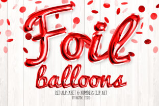Print on Demand: Red Foil Balloon Script Alphabet Graphic Illustrations By Digital Curio