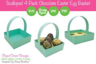 Print on Demand: Scalloped Easter Egg Basket Four Pack Graphic 3D SVG By rushton_tracy