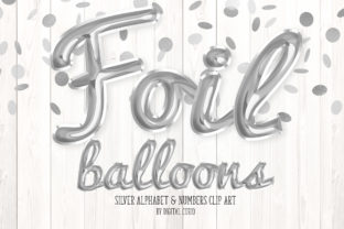 Print on Demand: Silver Foil Balloon Script Alphabet Graphic Illustrations By Digital Curio