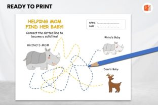 Tracing Book Animal for Kids - Rhino Graphic Teaching Materials By 57creative