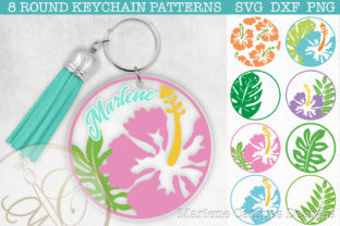Tropical Round Keychain Patterns SVG Graphic Crafts By paperart.bymc