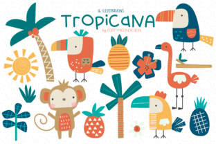 Print on Demand: Tropicana Clipart Set Graphic Illustrations By poppymoondesign