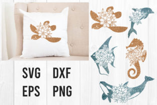Print on Demand: Turtle Dolphin Angel Fish Seahorse Whale Graphic Print Templates By dadan_pm