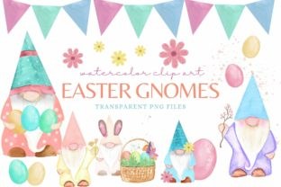 Watercolor Easter Gnomes Clip Art Graphic Illustrations By Afrin_Art