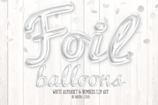 Print on Demand: White Foil Balloon Script Alphabet Graphic Illustrations By Digital Curio