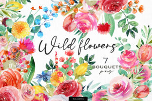 Wild Flowers Bouquets Graphic Illustrations By HappyWatercolorShop