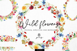 Wild Flowers Frames and Borders Graphic Illustrations By HappyWatercolorShop