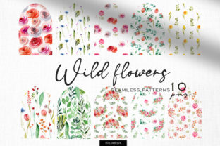 Wild Flowers Seamless Patterns Graphic Illustrations By HappyWatercolorShop