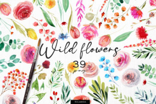 Print on Demand: Wild Flowers Set Graphic Illustrations By HappyWatercolorShop