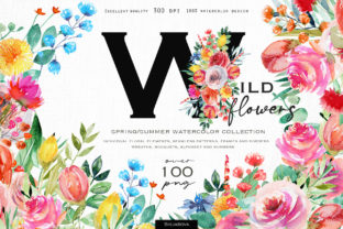 Wild Flowers Watercolor Collection Graphic Illustrations By HappyWatercolorShop
