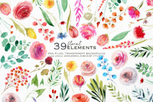 Wild Flowers Watercolor Collection Graphic Illustrations By HappyWatercolorShop 2
